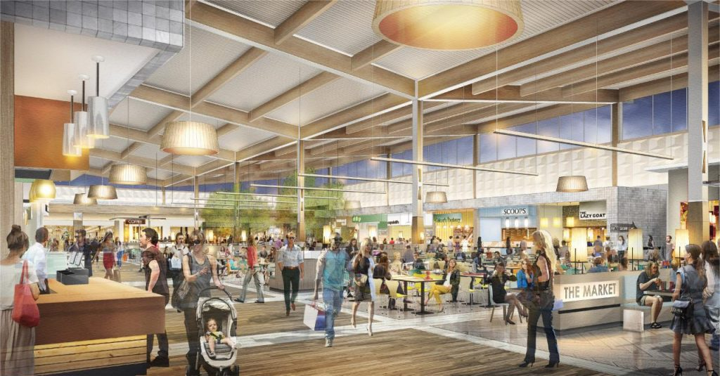 Premium Outlet Collection EIA Rendering of shoppers enjoying the food market