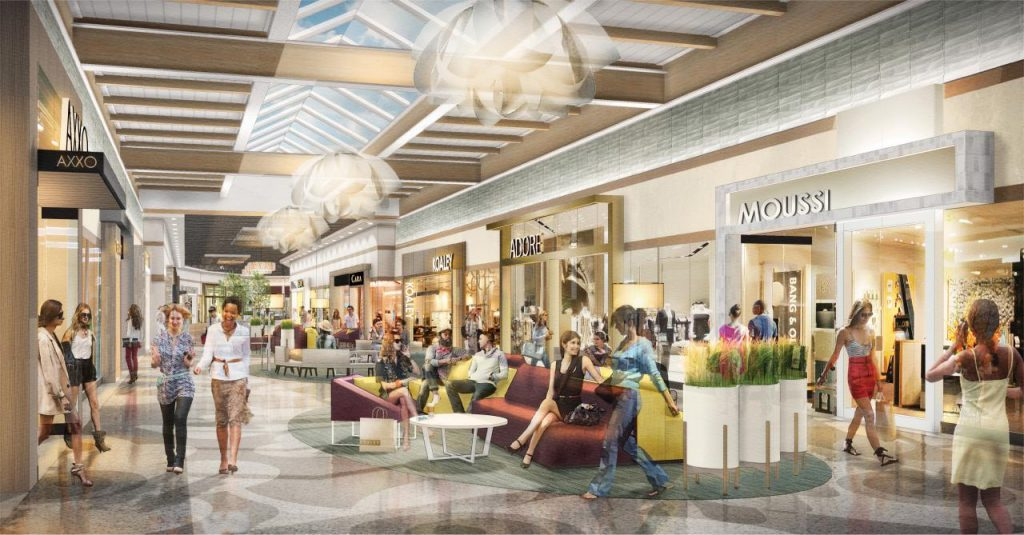 Premium Outlet Collection EIA rendering of mall interior with shoppers