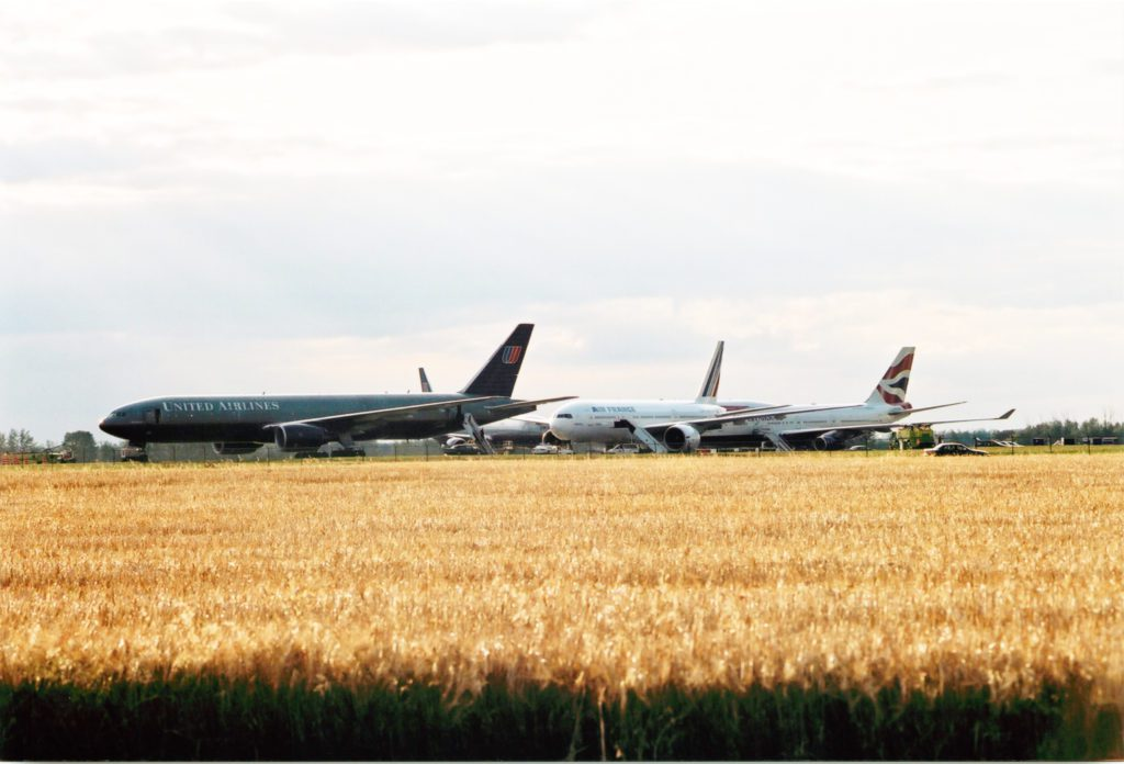 Planes parked away from the terminal on 9-11