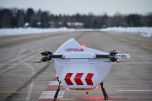 "A Drone Delivery Canada ""Sparrow"" drone, capable of carrying up to 10lbs."