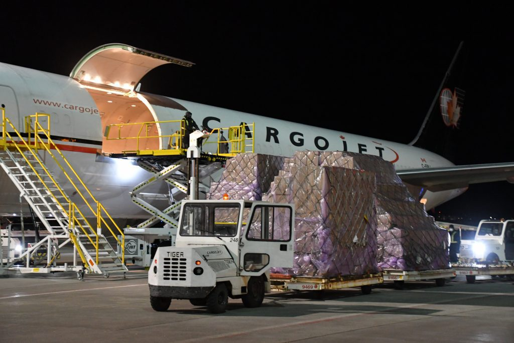 Supplies being unloaded from the Cargojet B767