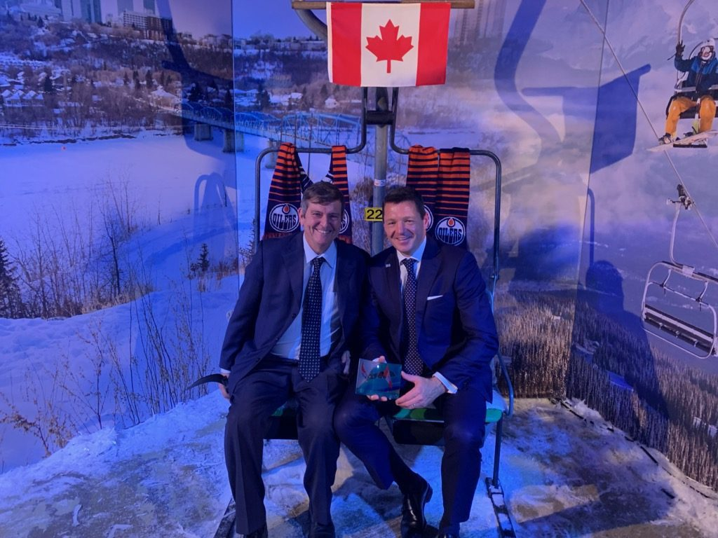 This image showsEIA President and CEO Tom Ruth (left) with KLM CEO Pieter Elbers in the Edmonton-Jasper tourism booth in Amsterdam at the KLM global celebration Friday, Oct 4.