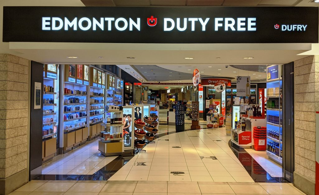 Photograph of Tax & Duty Free Storefront with various products for sale