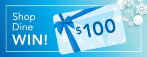 Shop dine WIN! contest graphic with a blue $100 gift card