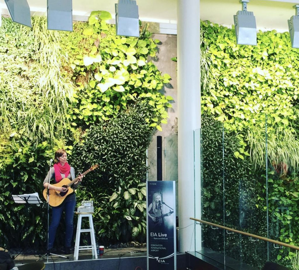 EIA Live Music in front of the living wall