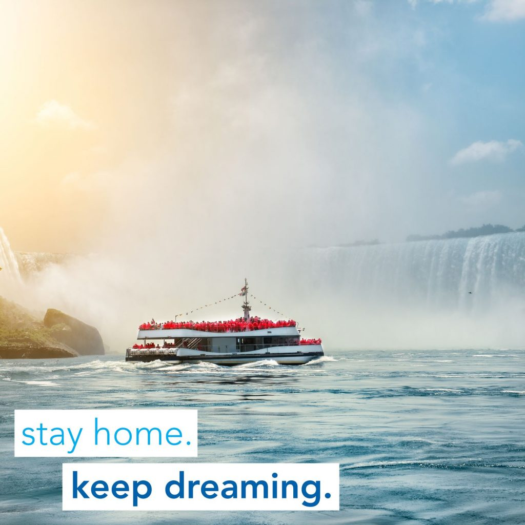 Boat with tourists near Niagara Falls, Canada
