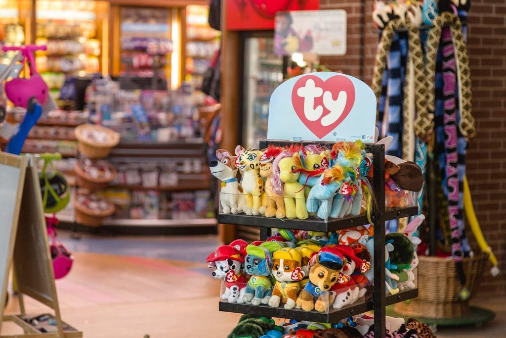 Photograph of various ty Beanie Babies sold at Kids Works at EIA
