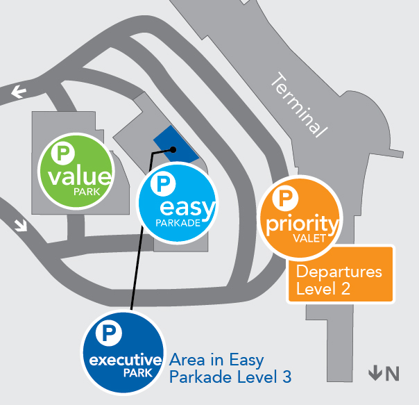 Parking map for Edmonton International Airport