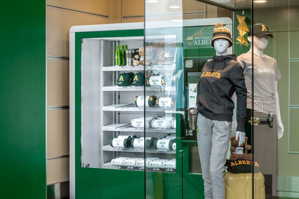 Photograph of vending machine selling University of Alberta apparell