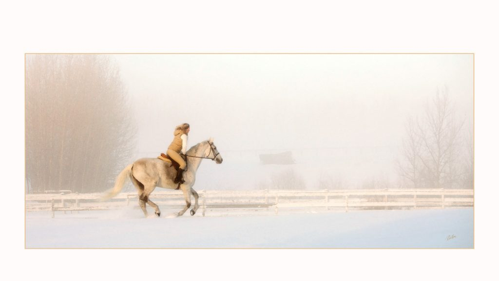 Photograph of a woman riding a horse through the snow - PPOC (Professional Photographers of Canada)