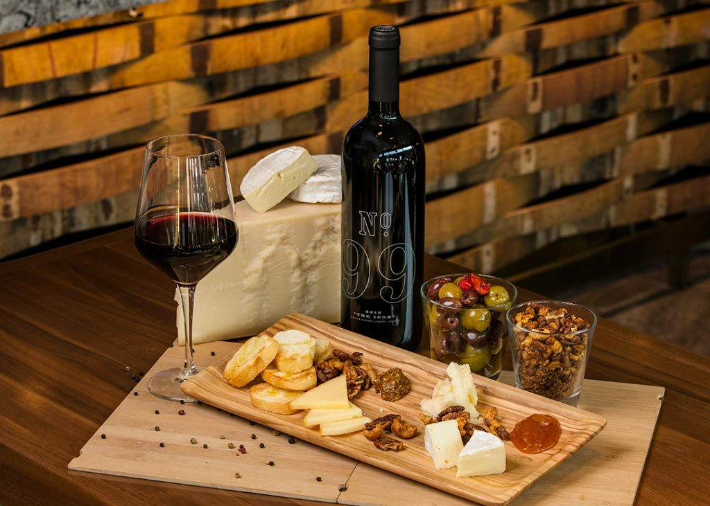 Appetizers, charcuteri and wine that can be ordered at Gretzky's Wine and Whisky