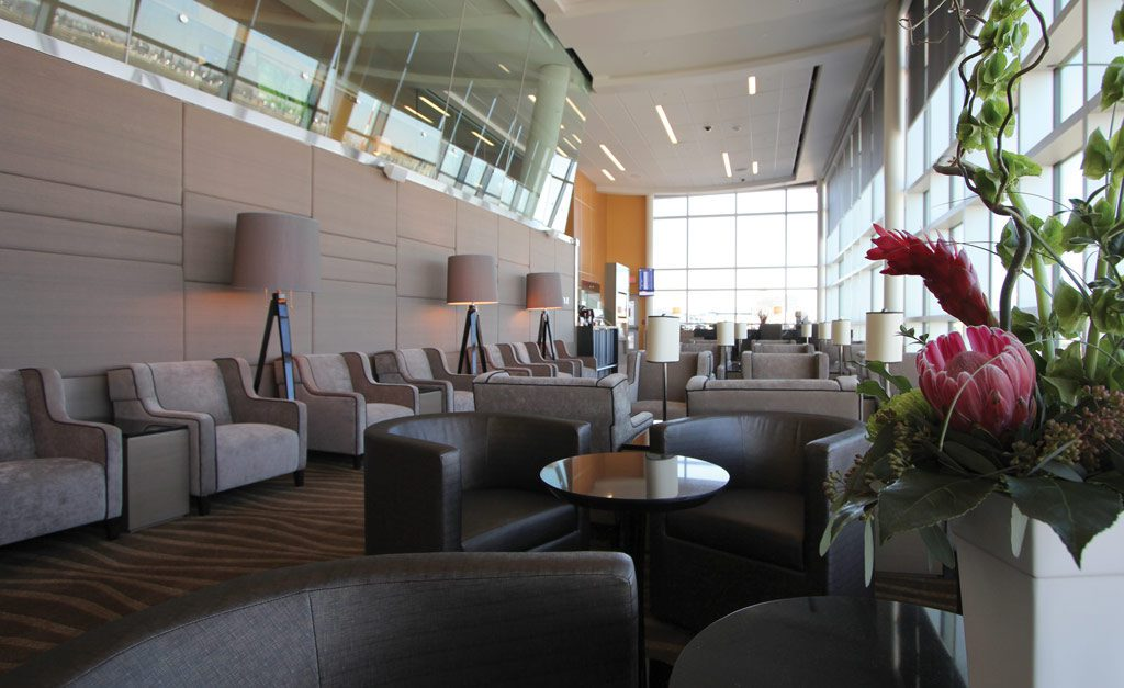 Photograph of seating areas and plants at Plaza Premium Lounge at EIA