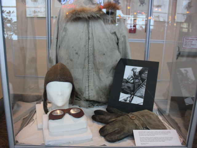 Photograph of old pilot gear within a display case -Reynolds-Alberta Museum Home of Canada's Aviation Hall of Fame