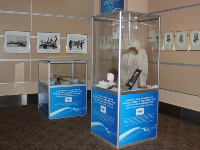 Photo of various display cases from the Reynolds-Alberta Museum Home of Canada's Aviation Hall of Fame